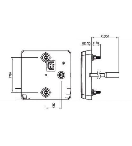 Stop/achterlicht/richtingaanw/reflector verlichting (12/24V) 100BARE