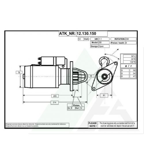 Startmotor AES new 12V - 1.1kW Seat/Skoda/VW 12.130.150